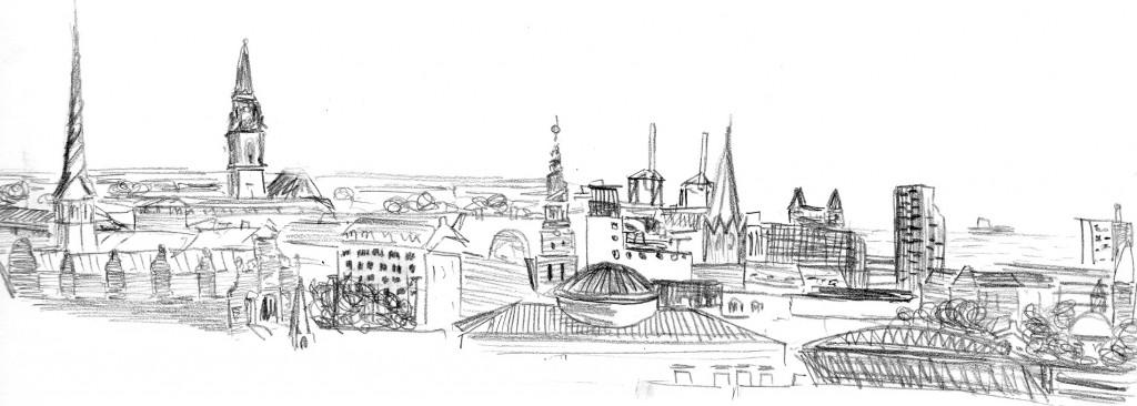 Panorama fra Rundetårn. Tegning: Nina Søndergaard