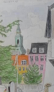 Udsigt fra Frederiksholms Kanal. Tegning: Nina Søndergaard